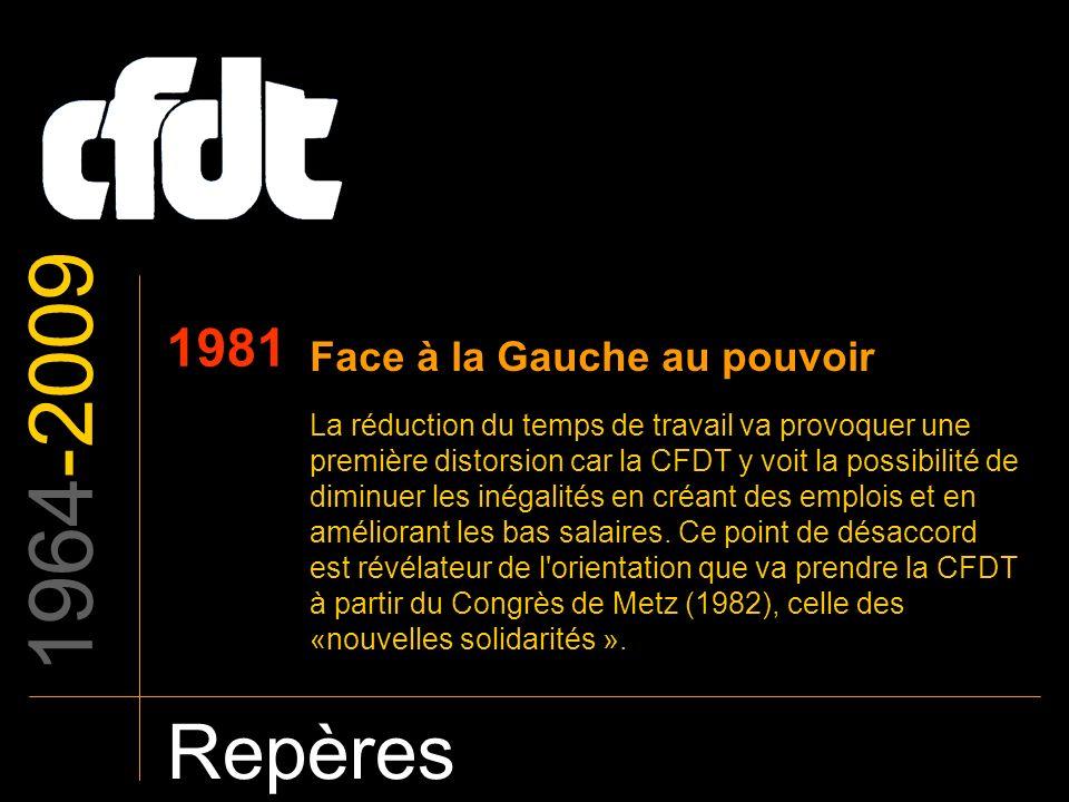 1964-2009 Repères 1981 Face à la Gauche au pouvoir La réduction du temps de travail va provoquer une première distorsion car la CFDT y voit la possibi