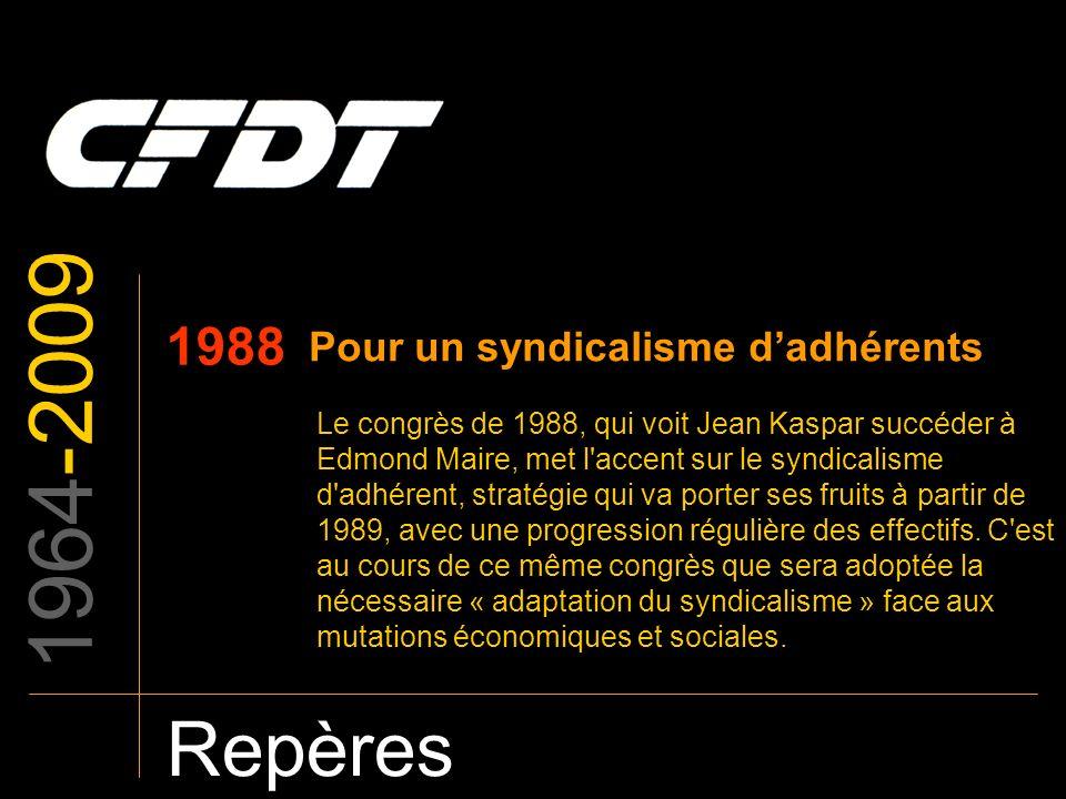 1964-2009 Repères 1988 Pour un syndicalisme dadhérents Le congrès de 1988, qui voit Jean Kaspar succéder à Edmond Maire, met l'accent sur le syndicali