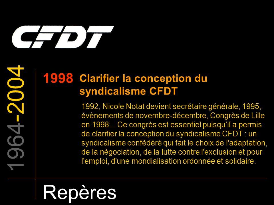 1964-2004 Repères 1998 Clarifier la conception du syndicalisme CFDT 1992, Nicole Notat devient secrétaire générale, 1995, évènements de novembre-décem