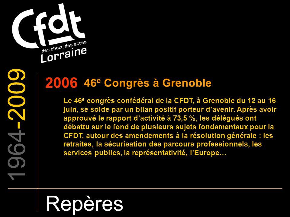 1964-2009 Repères 2006 46 e Congrès à Grenoble Le 46 e congrès confédéral de la CFDT, à Grenoble du 12 au 16 juin, se solde par un bilan positif porte