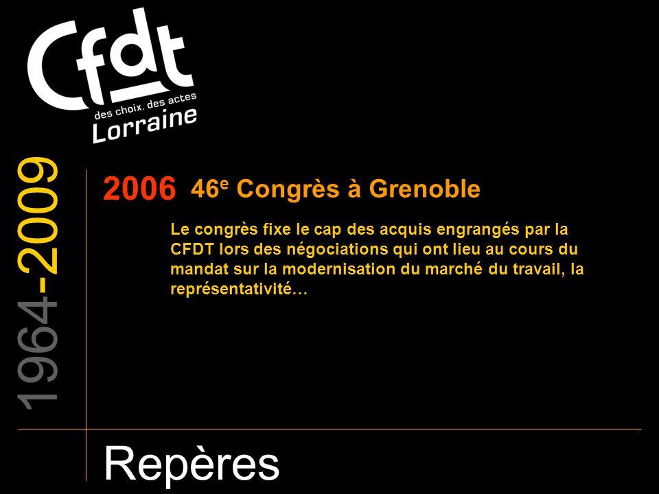 1964-2009 Repères 2006 46 e Congrès à Grenoble Le congrès fixe le cap des acquis engrangés par la CFDT lors des négociations qui ont lieu au cours du
