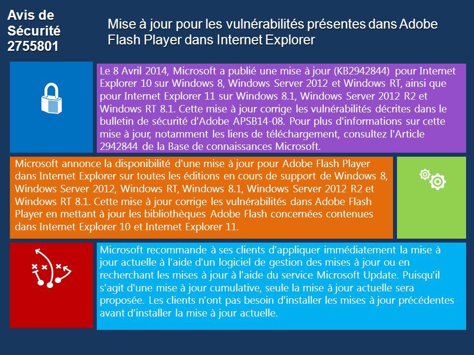 Avis de Sécurité 2755801 Le 8 Avril 2014, Microsoft a publié une mise à jour (KB2942844) pour Internet Explorer 10 sur Windows 8, Windows Server 2012