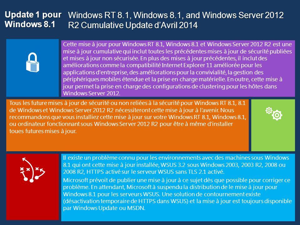 Update 1 pour Windows 8.1 Cette mise à jour pour Windows RT 8.1, Windows 8.1 et Windows Server 2012 R2 est une mise à jour cumulative qui inclut toute