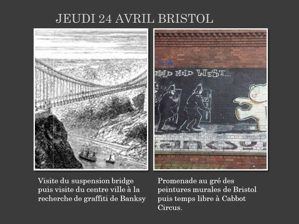 Visite du suspension bridge puis visite du centre ville à la recherche de graffiti de Banksy Promenade au gré des peintures murales de Bristol puis te