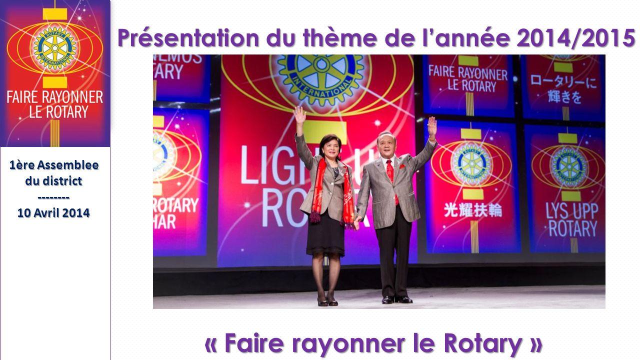 Séminaire de Formation des Présidents et Secrétaires Élus SFPSE-------- 15 Mai 2013 Présentation du thème de lannée 2014/2015 « Faire rayonner le Rotary » 1ère Assemblee du district -------- 10 Avril 2014