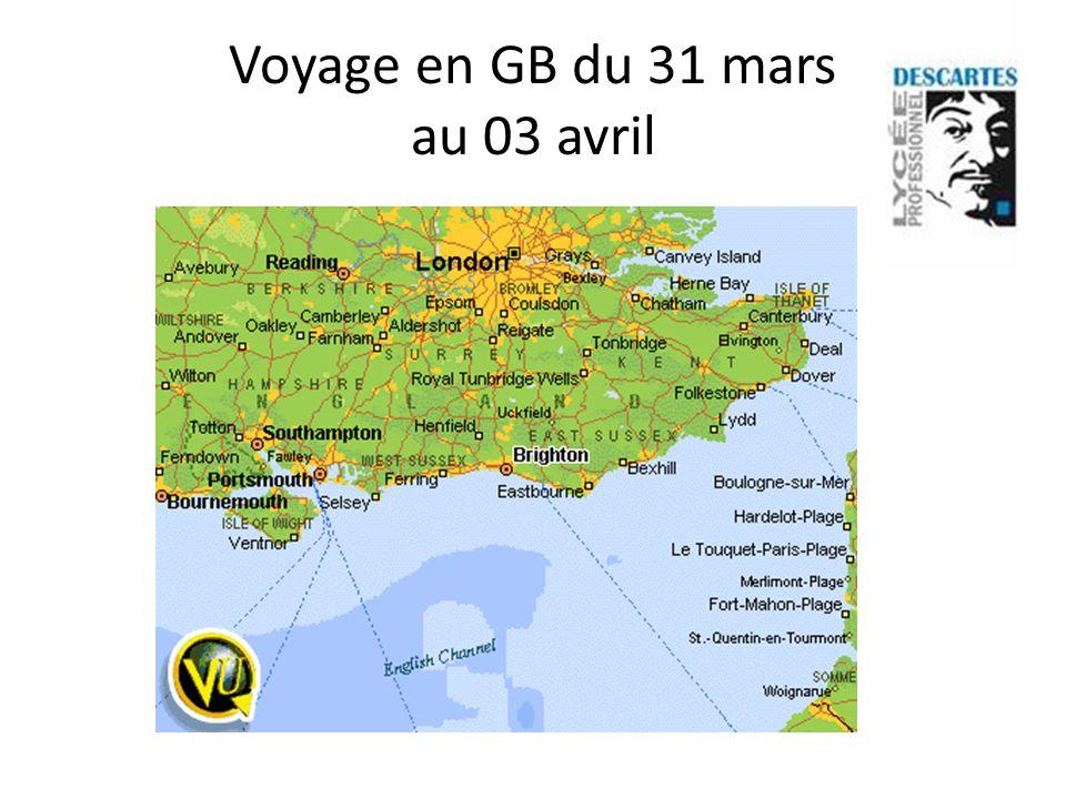 Jour 1 : départ du lycée à 6h le lundi 31 mars Terminal Eurotunnel et arrivée à Folkestone à 9.55 Visite libre de Hastings
