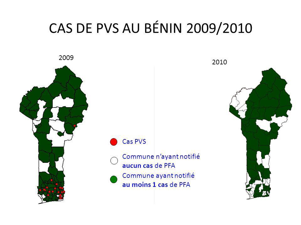 2009 2010 CAS DE PVS AU BÉNIN 2009/2010 Commune ayant notifié au moins 1 cas de PFA Commune nayant notifié aucun cas de PFA Cas PVS