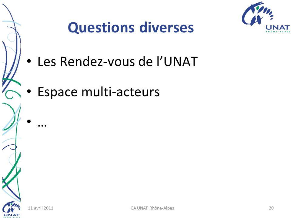 11 avril 2011CA UNAT Rhône-Alpes2011 avril 2011CA UNAT Rhône-Alpes20 Questions diverses Les Rendez-vous de lUNAT Espace multi-acteurs …