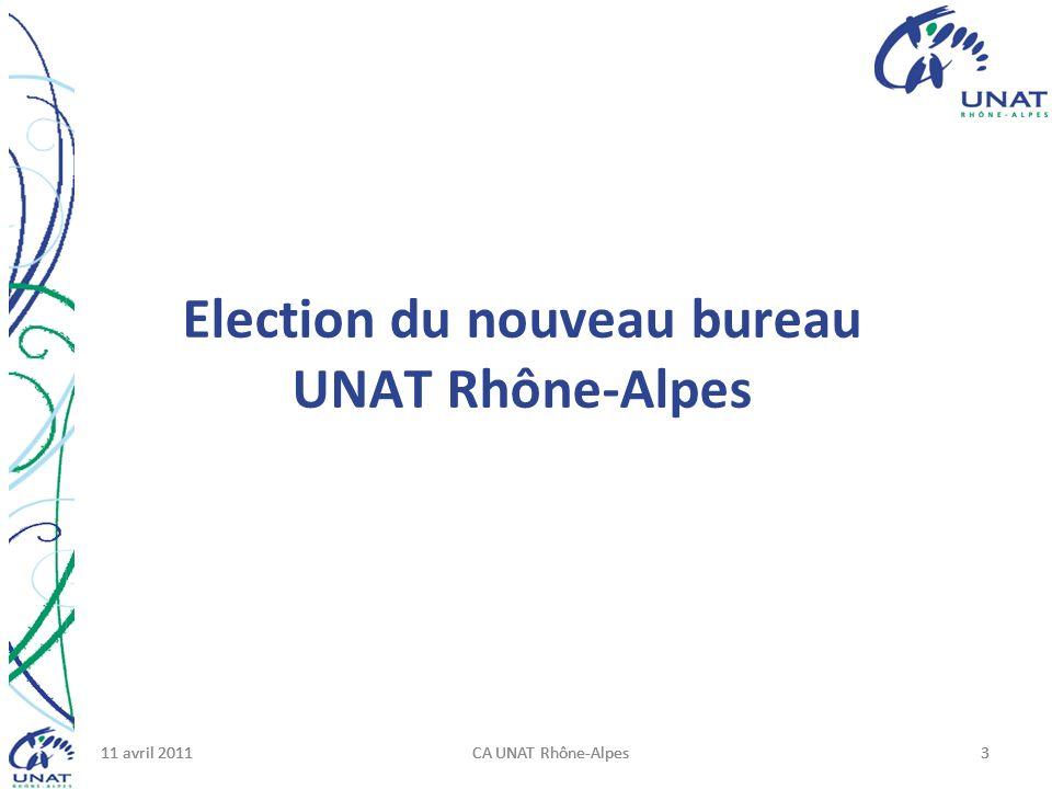 11 avril 2011CA UNAT Rhône-Alpes311 avril 2011CA UNAT Rhône-Alpes311 avril 2011CA UNAT Rhône-Alpes3 Election du nouveau bureau UNAT Rhône-Alpes