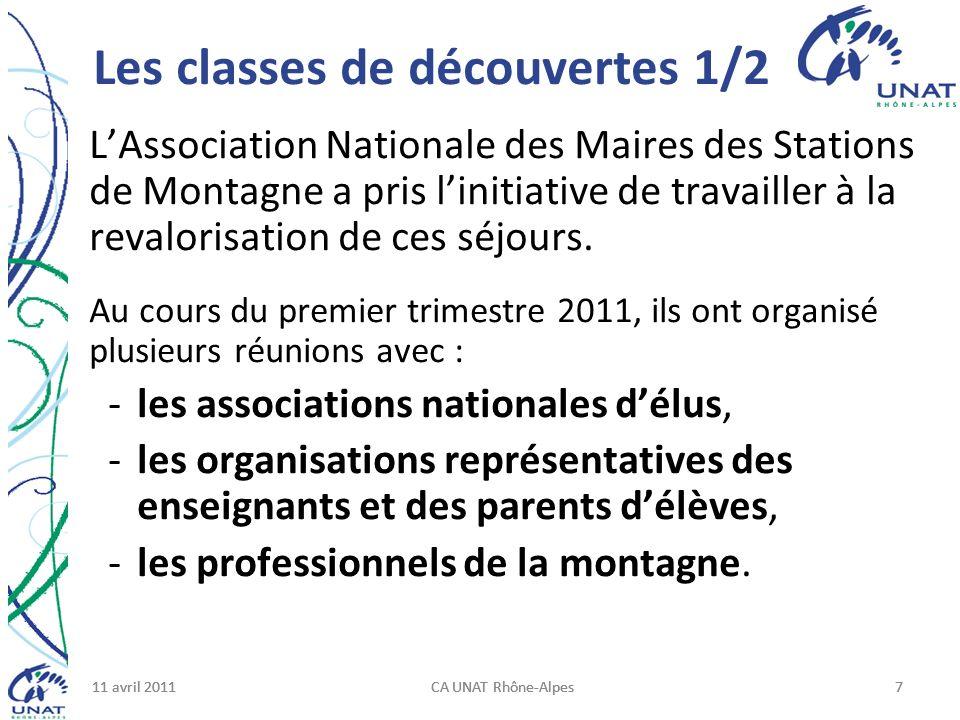 11 avril 2011CA UNAT Rhône-Alpes711 avril 2011CA UNAT Rhône-Alpes711 avril 2011CA UNAT Rhône-Alpes7 Les classes de découvertes 1/2 LAssociation Nationale des Maires des Stations de Montagne a pris linitiative de travailler à la revalorisation de ces séjours.