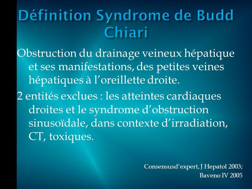 Obstruction du drainage veineux hépatique et ses manifestations, des petites veines hépatiques à loreillette droite.