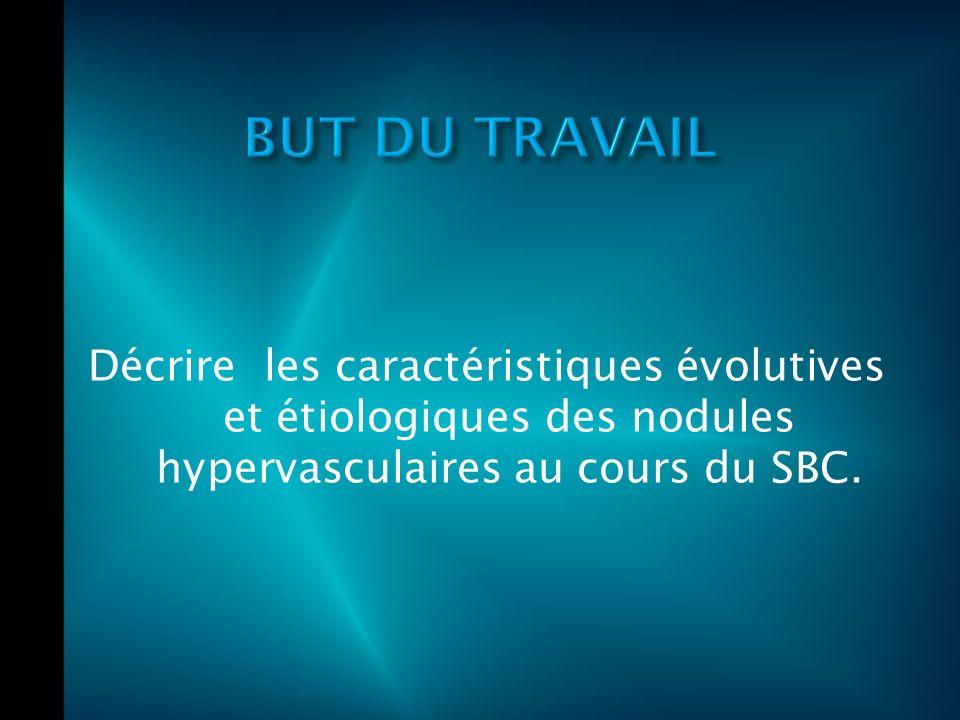 Décrire les caractéristiques évolutives et étiologiques des nodules hypervasculaires au cours du SBC.