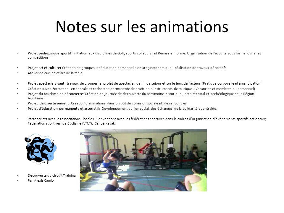 Notes sur les animations Projet pédagogique sportif: Initiation aux disciplines de Golf, sports collectifs, et Remise en forme.