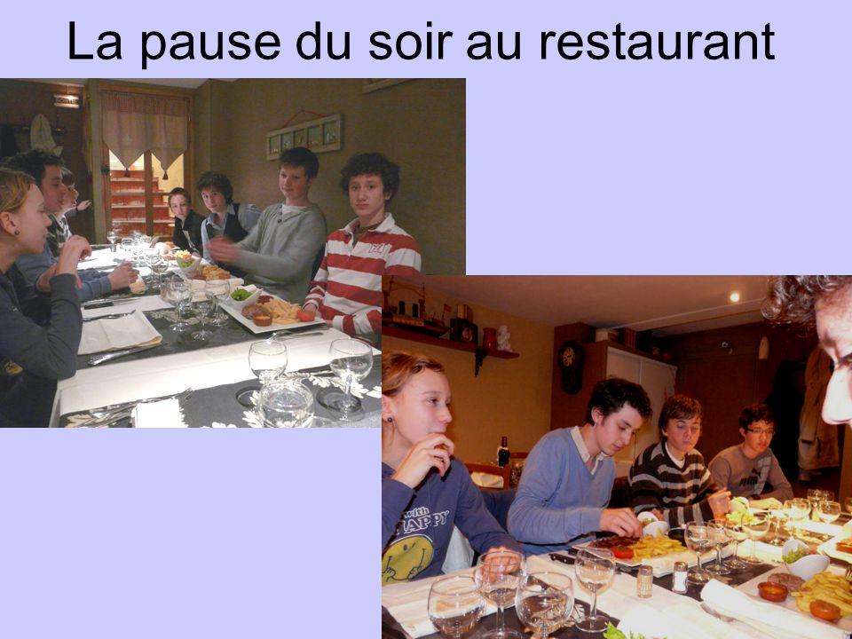 La pause du soir au restaurant