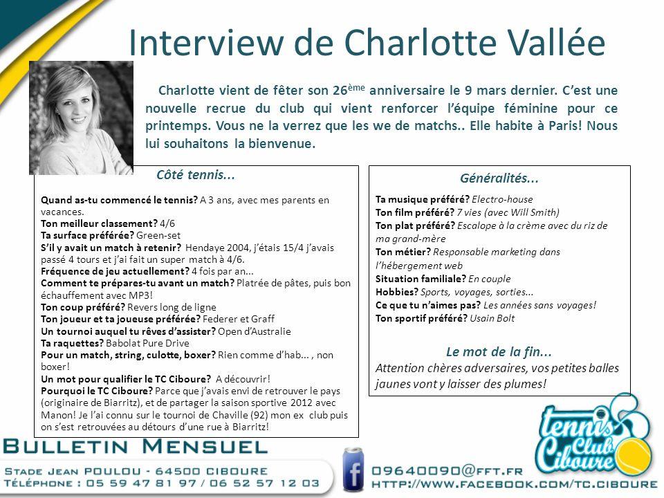 Interview de Charlotte Vallée Charlotte vient de fêter son 26 ème anniversaire le 9 mars dernier. Cest une nouvelle recrue du club qui vient renforcer