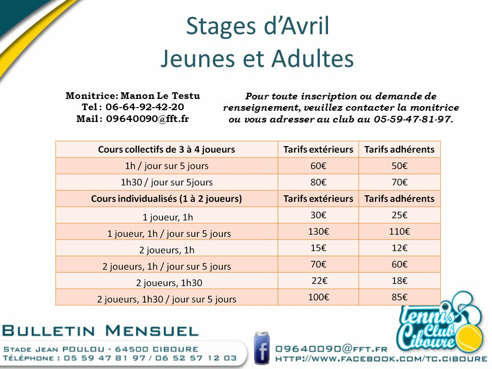 Stages dAvril Jeunes et Adultes Monitrice: Manon Le Testu Tel : 06-64-92-42-20 Mail : 09640090@fft.fr Pour toute inscription ou demande de renseigneme