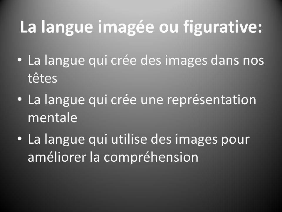 La langue imagée ou figurative: La langue qui crée des images dans nos têtes La langue qui crée une représentation mentale La langue qui utilise des images pour améliorer la compréhension