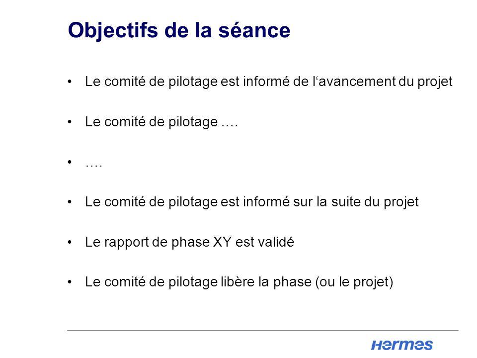 Objectifs de la séance Le comité de pilotage est informé de lavancement du projet Le comité de pilotage …. …. Le comité de pilotage est informé sur la