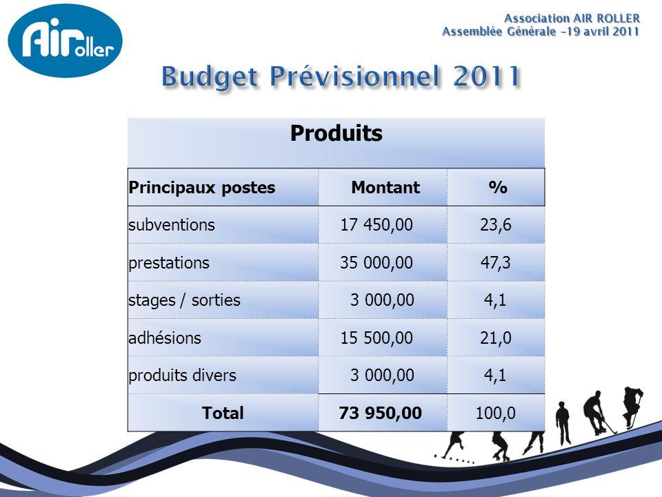 Association AIR ROLLER Assemblée Générale –19 avril 2011 Produits Principaux postes Montant % subventions 17 450,0023,6 prestations 35 000,0047,3 stag