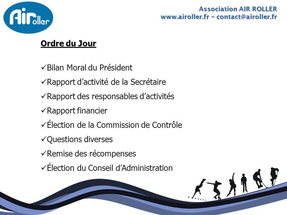 Association AIR ROLLER www.airoller.fr – contact@airoller.fr Ordre du Jour Bilan Moral du Président Rapport dactivité de la Secrétaire Rapport des res
