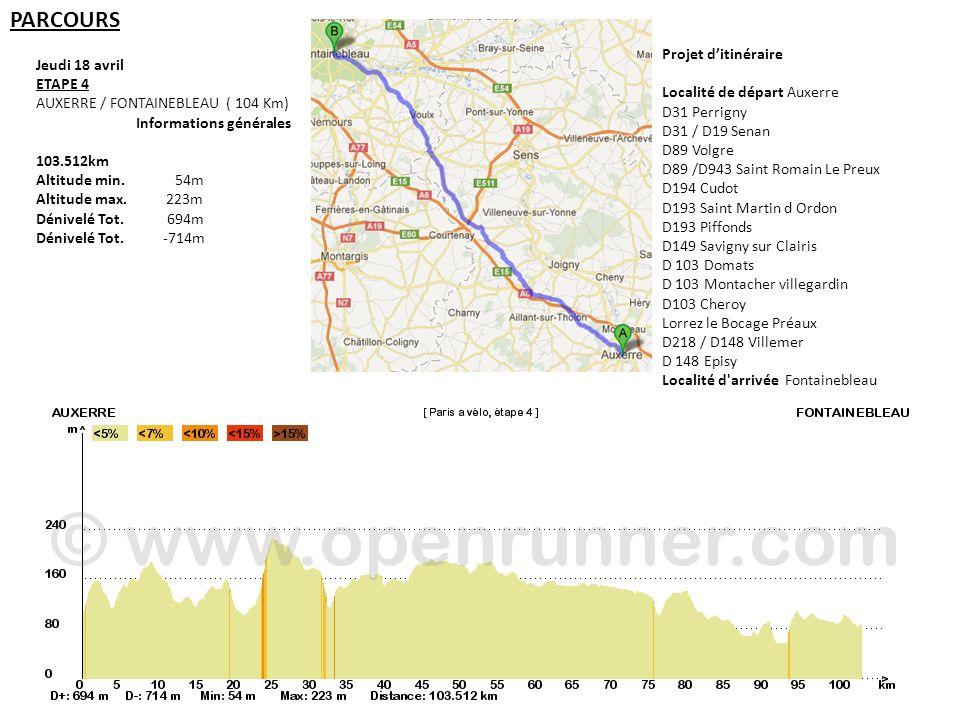 Jeudi 18 avril ETAPE 4 AUXERRE / FONTAINEBLEAU ( 104 Km) Informations générales 103.512km Altitude min. 54m Altitude max. 223m Dénivelé Tot. 694m Déni