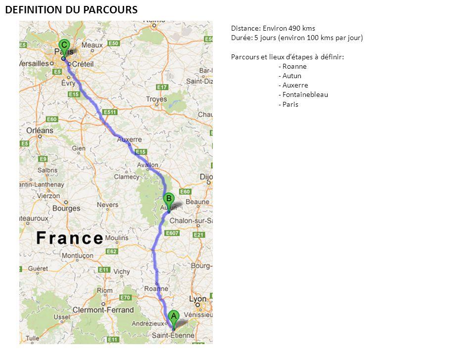 DEFINITION DU PARCOURS Distance: Environ 490 kms Durée: 5 jours (environ 100 kms par jour) Parcours et lieux détapes à définir: - Roanne - Autun - Aux