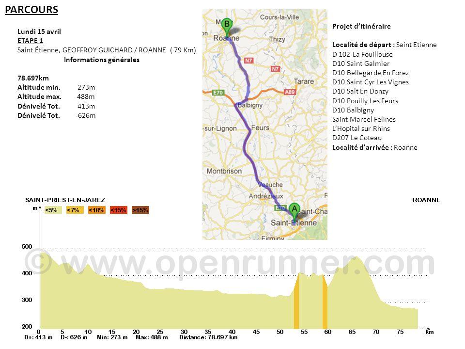 PARCOURS Lundi 15 avril ETAPE 1 Saint Étienne, GEOFFROY GUICHARD / ROANNE ( 79 Km) Informations générales 78.697km Altitude min. 273m Altitude max. 48