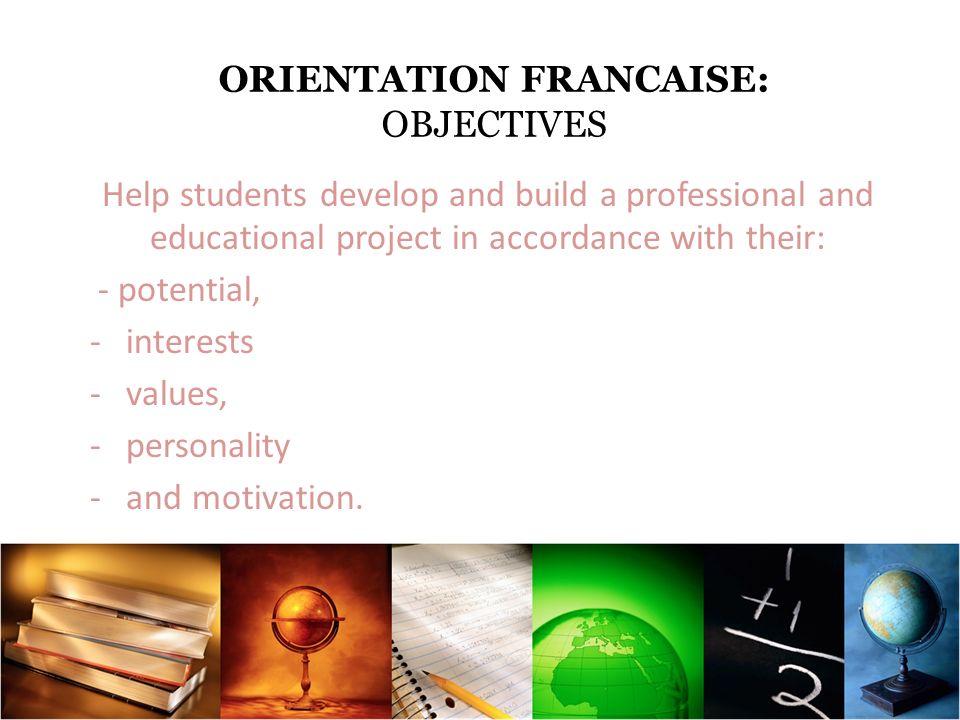 ORIENTATION FRANCAISE: LES OBJECTIFS ECOUTER / LISTEN INFORMER / INFORM CONSEILLER / ADVISE