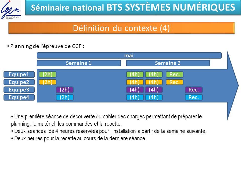 Séminaire national BTS SYSTÈMES NUMÉRIQUES Définition du contexte (4) mai Planning de lépreuve de CCF : Equipe1 Equipe2 Equipe3 Equipe4 Semaine 1Semai