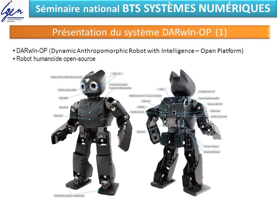 Séminaire national BTS SYSTÈMES NUMÉRIQUES Présentation du système DARwIn-OP (1) DARwIn-OP ( Dynamic Anthropomorphic Robot with Intelligence – Open Pl