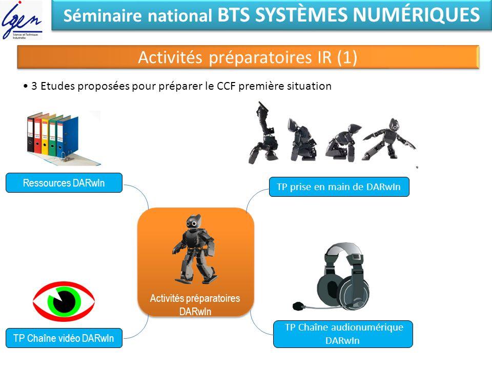 Séminaire national BTS SYSTÈMES NUMÉRIQUES Activités préparatoires IR (1) Activités préparatoires DARwIn Activités préparatoires DARwIn Ressources DAR