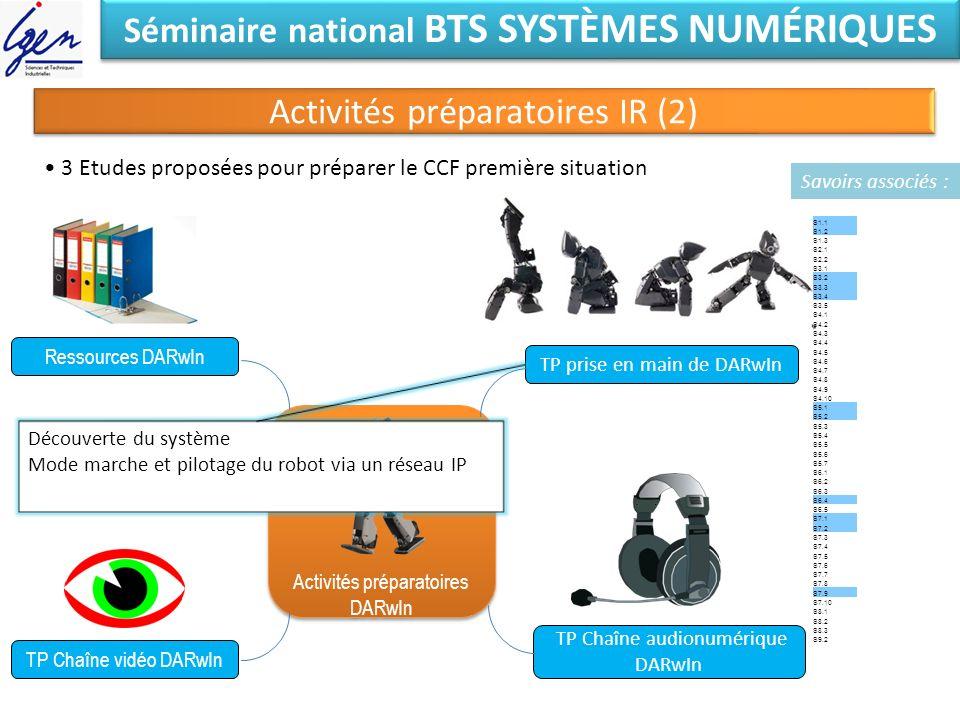 Séminaire national BTS SYSTÈMES NUMÉRIQUES Activités préparatoires IR (2) Activités préparatoires DARwIn Activités préparatoires DARwIn Ressources DAR