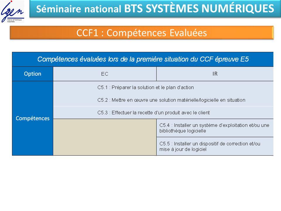 Séminaire national BTS SYSTÈMES NUMÉRIQUES CCF1 : Compétences Evaluées
