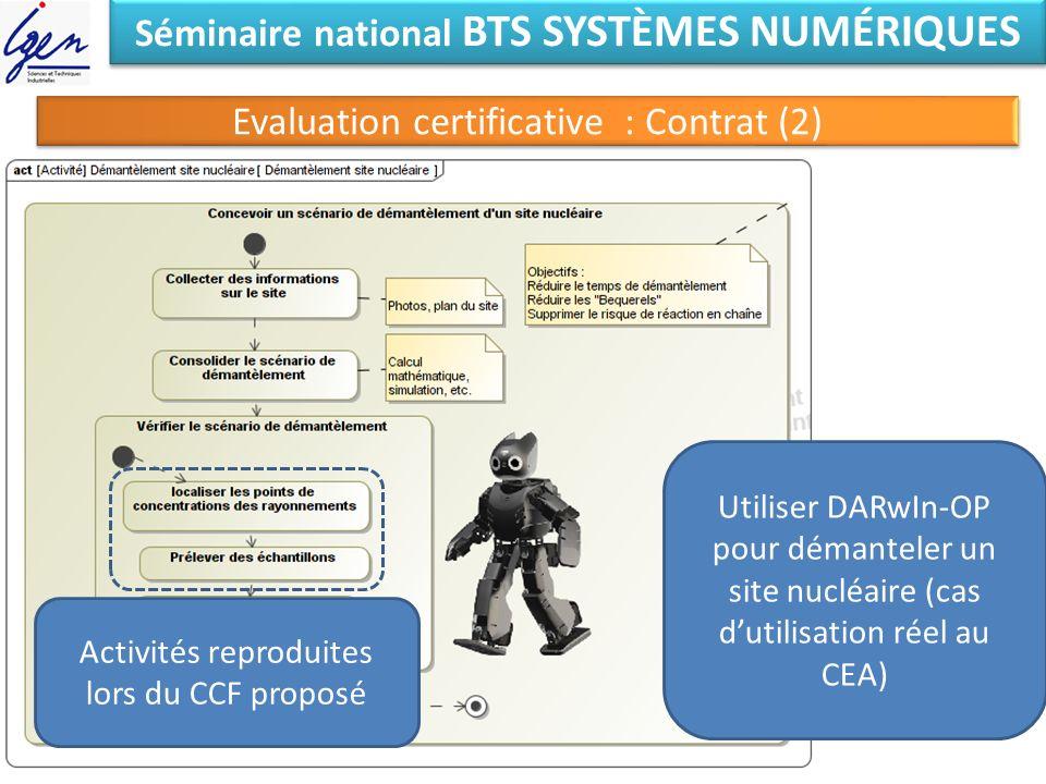 Séminaire national BTS SYSTÈMES NUMÉRIQUES Evaluation certificative : Contrat (2) Utiliser DARwIn-OP pour démanteler un site nucléaire (cas dutilisati