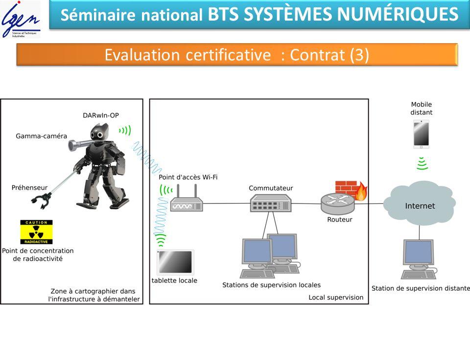 Séminaire national BTS SYSTÈMES NUMÉRIQUES Evaluation certificative : Contrat (3)