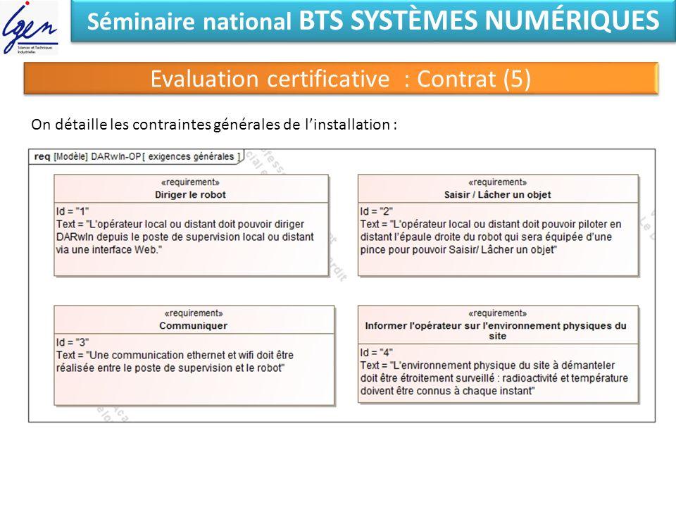 Séminaire national BTS SYSTÈMES NUMÉRIQUES Evaluation certificative : Contrat (5) On détaille les contraintes générales de linstallation :