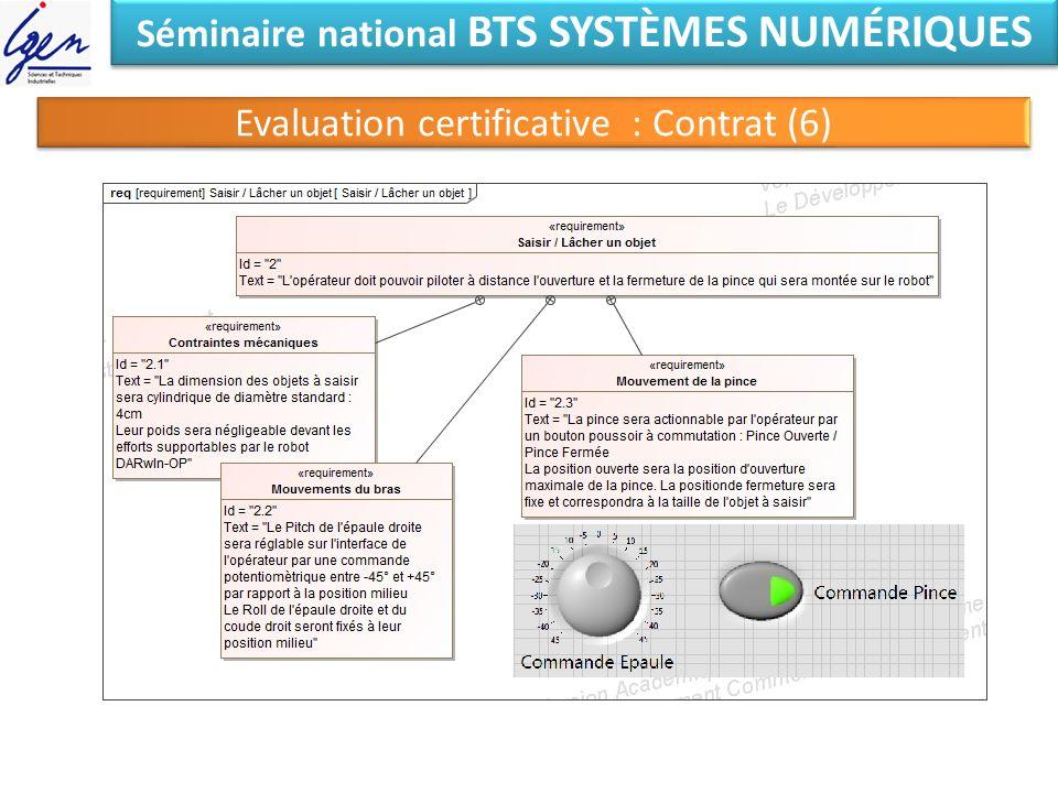 Séminaire national BTS SYSTÈMES NUMÉRIQUES Evaluation certificative : Contrat (6)