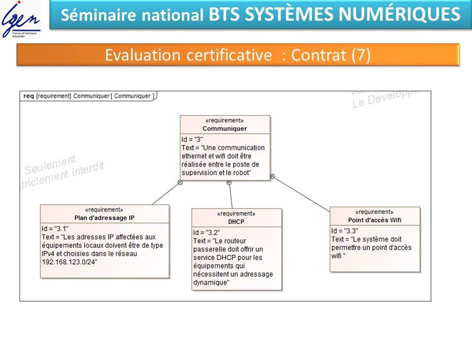 Séminaire national BTS SYSTÈMES NUMÉRIQUES Evaluation certificative : Contrat (7)