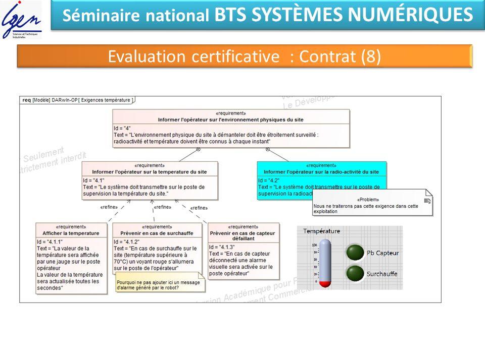 Séminaire national BTS SYSTÈMES NUMÉRIQUES Evaluation certificative : Contrat (8)