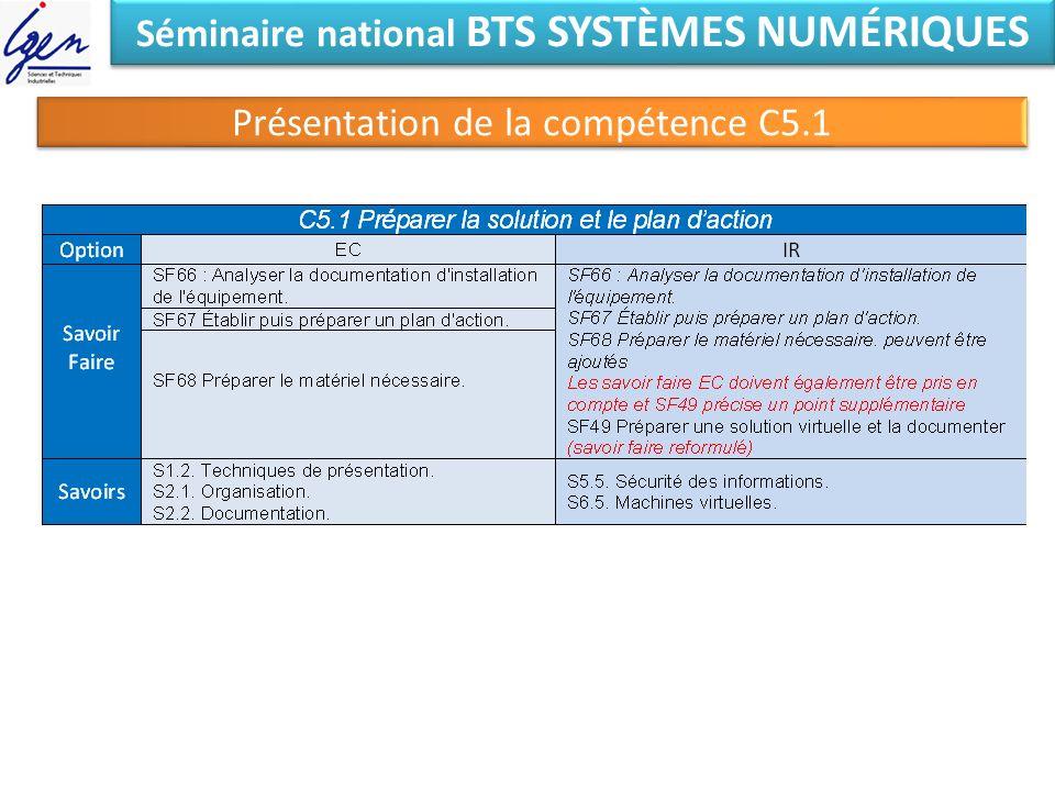 Séminaire national BTS SYSTÈMES NUMÉRIQUES Présentation de la compétence C5.1