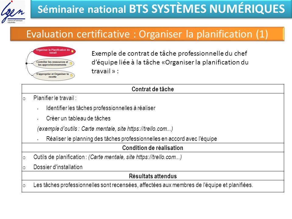 Séminaire national BTS SYSTÈMES NUMÉRIQUES Evaluation certificative : Organiser la planification (1) Exemple de contrat de tâche professionnelle du ch