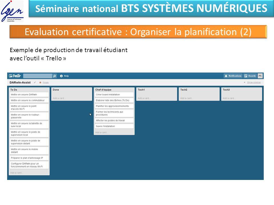 Séminaire national BTS SYSTÈMES NUMÉRIQUES Evaluation certificative : Organiser la planification (2) Exemple de production de travail étudiant avec lo