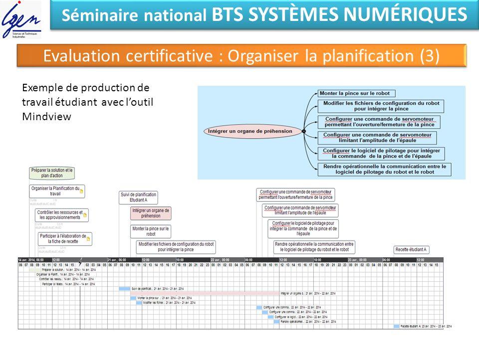 Séminaire national BTS SYSTÈMES NUMÉRIQUES Evaluation certificative : Organiser la planification (3) Exemple de production de travail étudiant avec lo