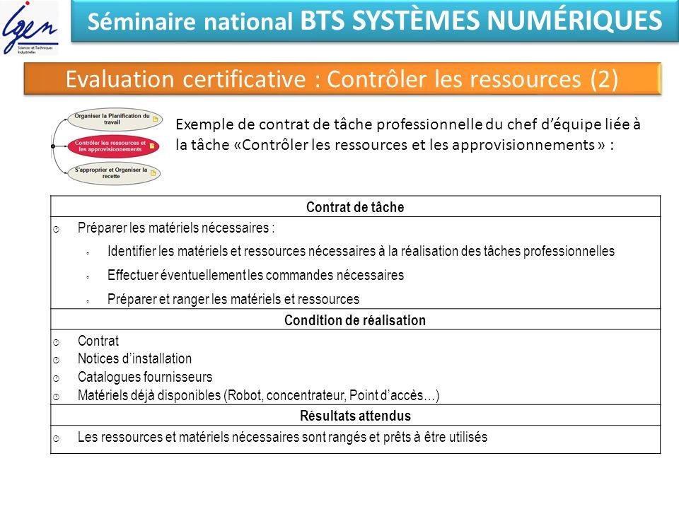 Séminaire national BTS SYSTÈMES NUMÉRIQUES Evaluation certificative : Contrôler les ressources (2) Exemple de contrat de tâche professionnelle du chef