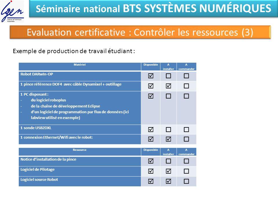 Séminaire national BTS SYSTÈMES NUMÉRIQUES Evaluation certificative : Contrôler les ressources (3) Exemple de production de travail étudiant : Matérie