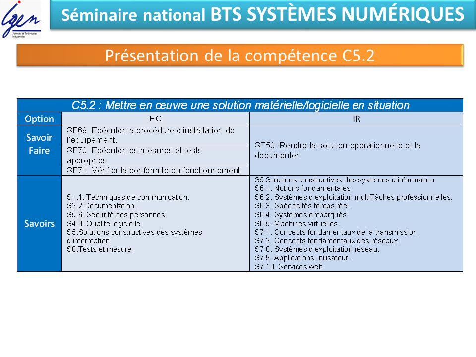 Séminaire national BTS SYSTÈMES NUMÉRIQUES Présentation de la compétence C5.2