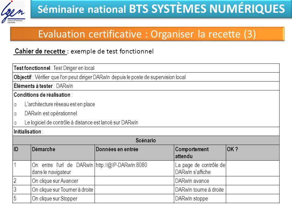 Séminaire national BTS SYSTÈMES NUMÉRIQUES Cahier de r ecette : exemple de test fonctionnel Test fonctionnel : Test Diriger en local Objectif : Vérifi