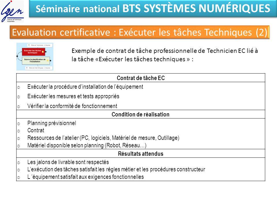 Séminaire national BTS SYSTÈMES NUMÉRIQUES Exemple de contrat de tâche professionnelle de Technicien EC lié à la tâche «Exécuter les tâches techniques