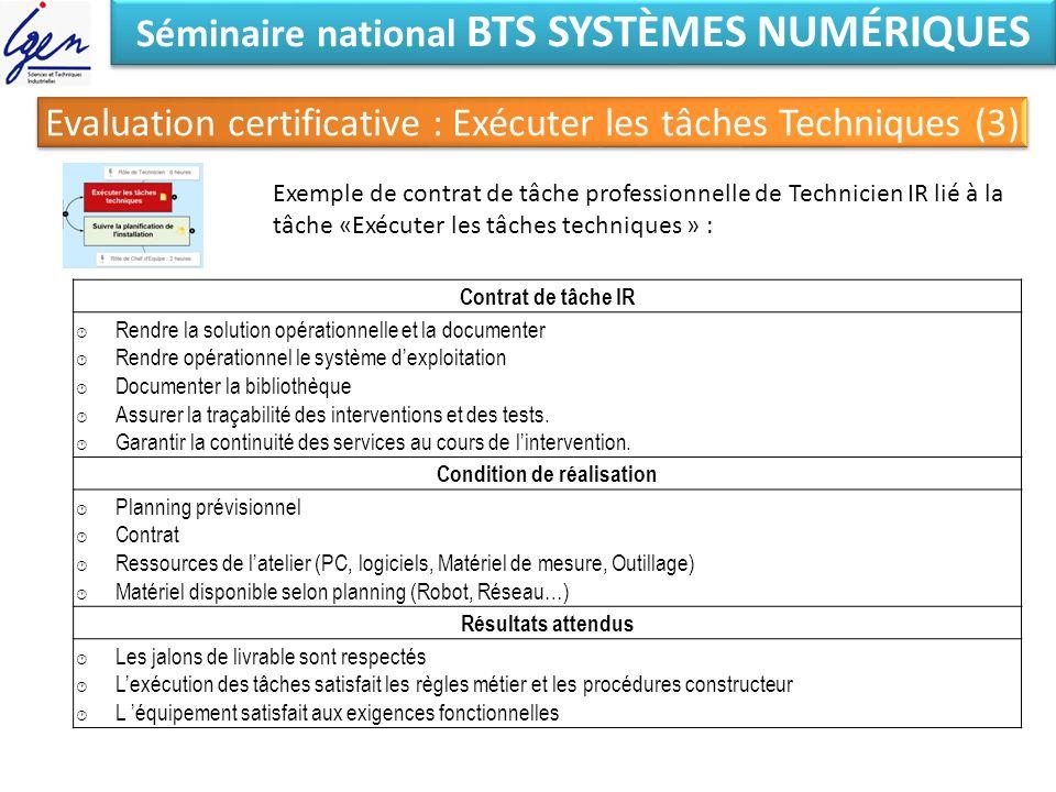 Séminaire national BTS SYSTÈMES NUMÉRIQUES Exemple de contrat de tâche professionnelle de Technicien IR lié à la tâche «Exécuter les tâches techniques