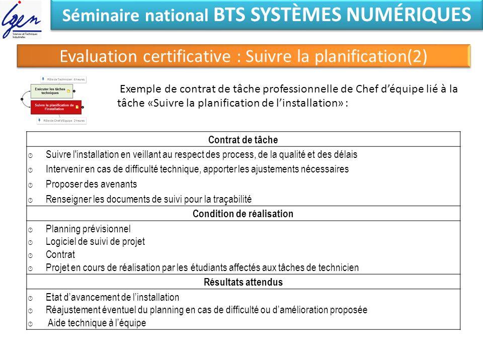 Séminaire national BTS SYSTÈMES NUMÉRIQUES Evaluation certificative : Suivre la planification(2) Exemple de contrat de tâche professionnelle de Chef d